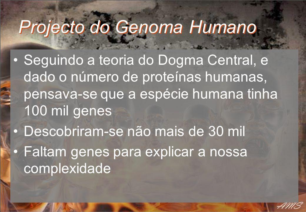 Projecto do Genoma Humano Seguindo a teoria do Dogma Central, e dado o número de proteínas humanas, pensava-se que a espécie humana tinha 100 mil gene