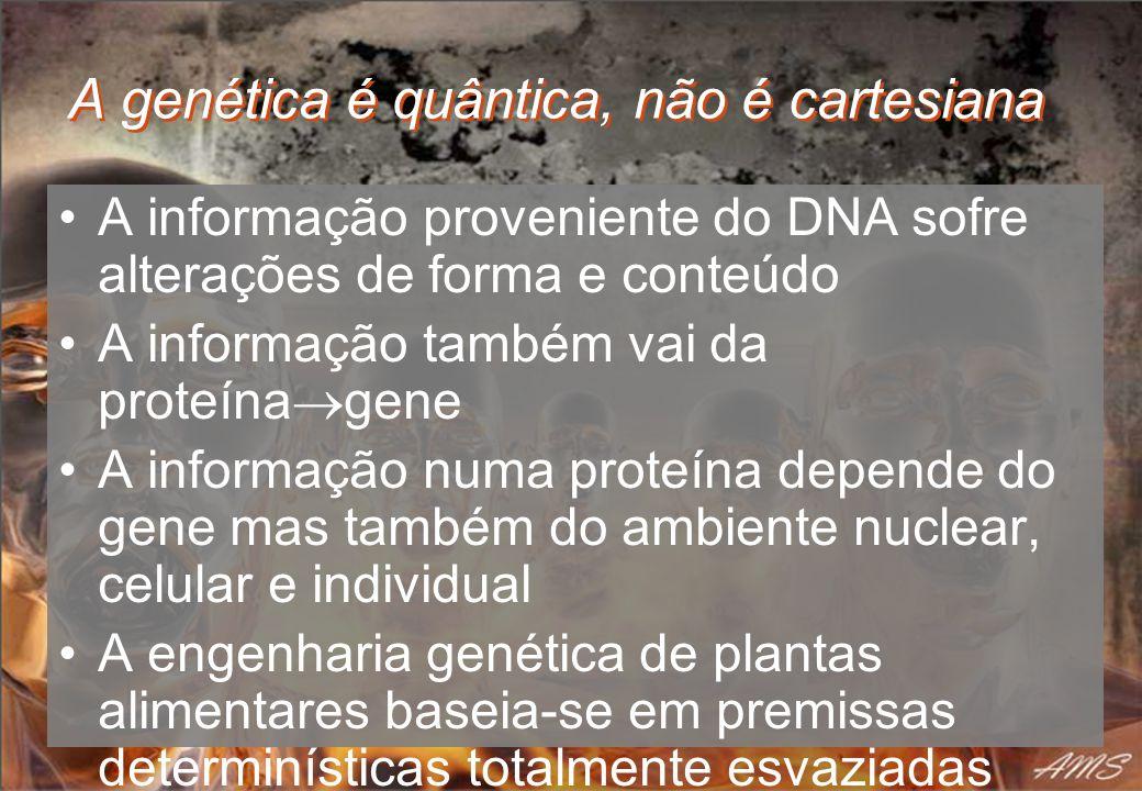 A genética é quântica, não é cartesiana A informação proveniente do DNA sofre alterações de forma e conteúdo A informação também vai da proteína gene