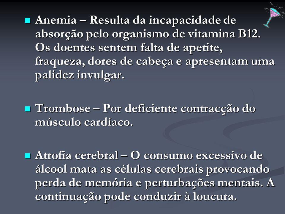 Anemia – Resulta da incapacidade de absorção pelo organismo de vitamina B12. Os doentes sentem falta de apetite, fraqueza, dores de cabeça e apresenta