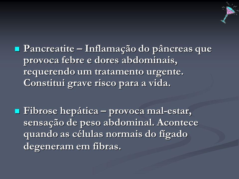 Pancreatite – Inflamação do pâncreas que provoca febre e dores abdominais, requerendo um tratamento urgente. Constitui grave risco para a vida. Pancre