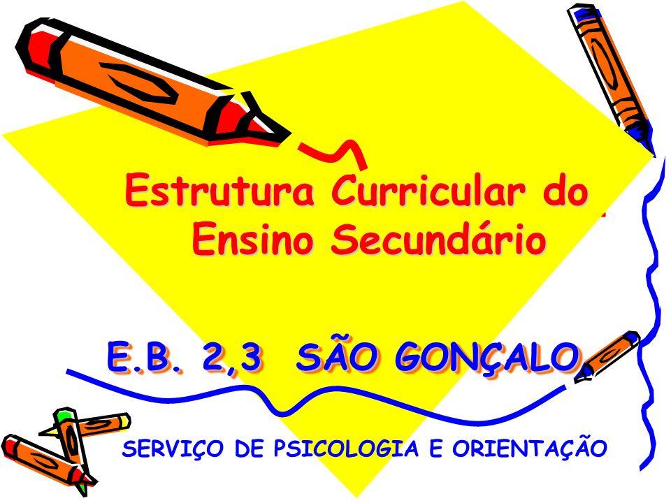 E.B.2,3 SÃO GONÇALO Estrutura Curricular do Ensino Secundário SERVIÇO DE PSICOLOGIA E ORIENTAÇÃO