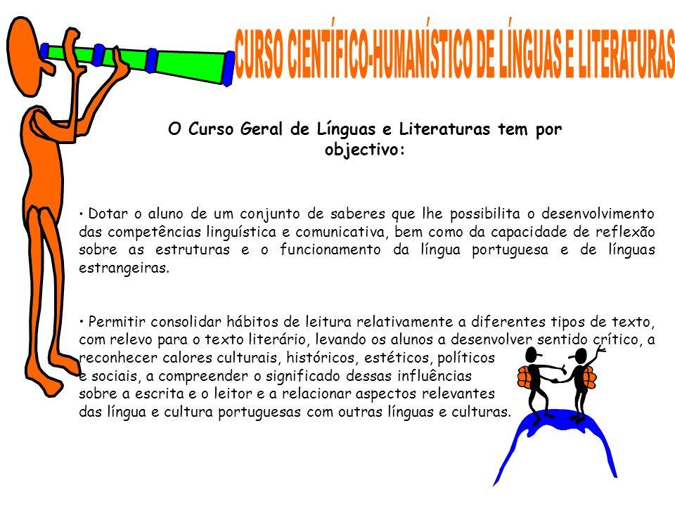 Dotar o aluno de um conjunto de saberes que lhe possibilita o desenvolvimento das competências linguística e comunicativa, bem como da capacidade de r