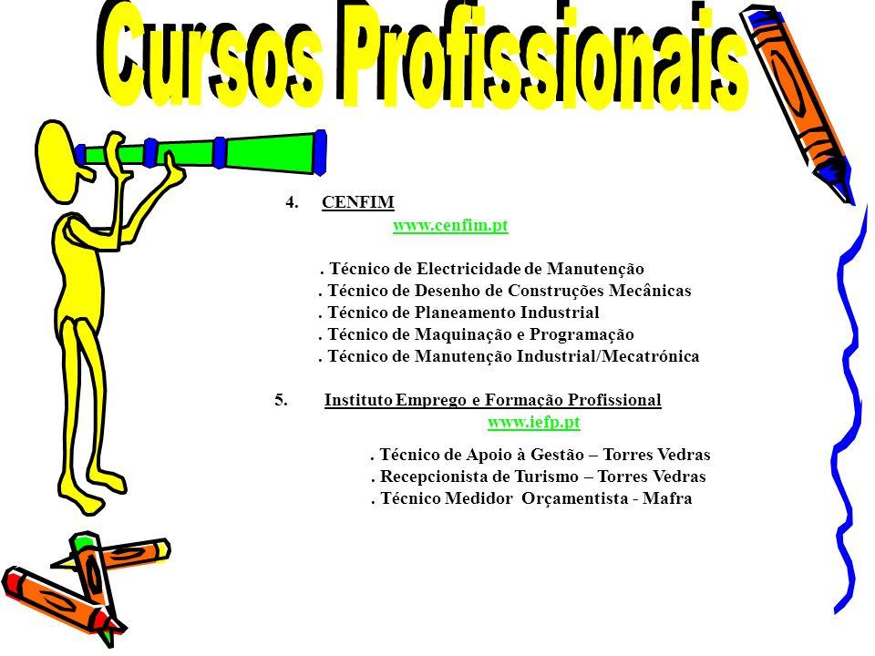 4. CENFIM www.cenfim.pt. Técnico de Electricidade de Manutenção. Técnico de Desenho de Construções Mecânicas. Técnico de Planeamento Industrial. Técni