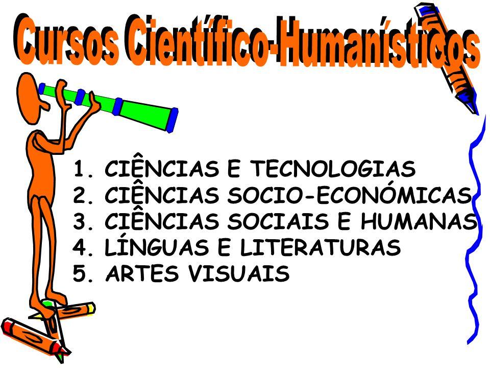 1. CIÊNCIAS E TECNOLOGIAS 2. CIÊNCIAS SOCIO-ECONÓMICAS 3. CIÊNCIAS SOCIAIS E HUMANAS 4. LÍNGUAS E LITERATURAS 5. ARTES VISUAIS