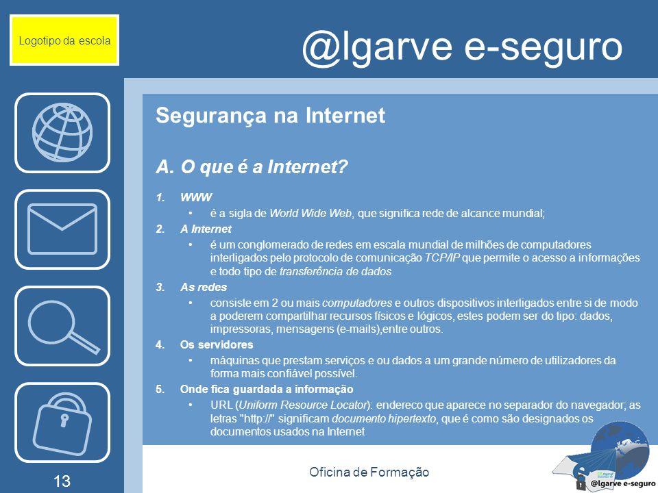 Oficina de Formação 13 @lgarve e-seguro Segurança na Internet A.O que é a Internet.
