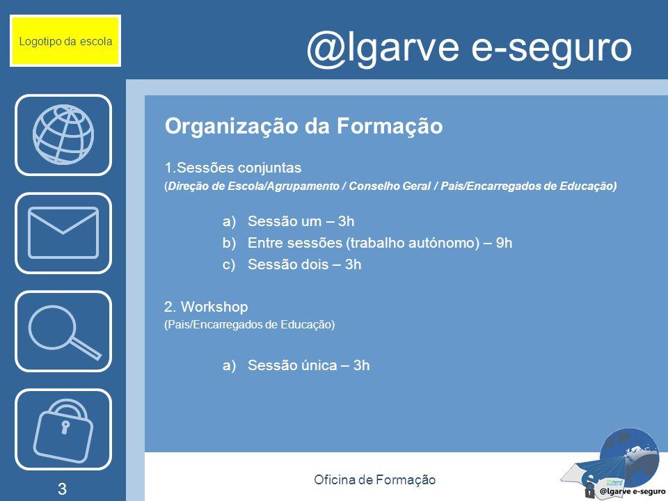 Oficina de Formação 3 @lgarve e-seguro Organização da Formação 1.Sessões conjuntas (Direção de Escola/Agrupamento / Conselho Geral / Pais/Encarregados de Educação) a)Sessão um – 3h b)Entre sessões (trabalho autónomo) – 9h c)Sessão dois – 3h 2.