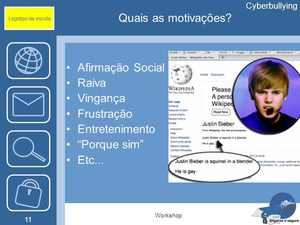 Workshop 11 Logotipo da escola Afirmação Social Raiva Vingança Frustração Entretenimento Porque sim Etc... Cyberbullying Quais as motivações?