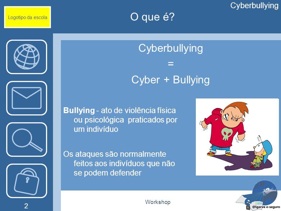 Workshop 2 O que é? Logotipo da escola Cyberbullying = Cyber + Bullying Cyberbullying Bullying - ato de violência física ou psicológica praticados por