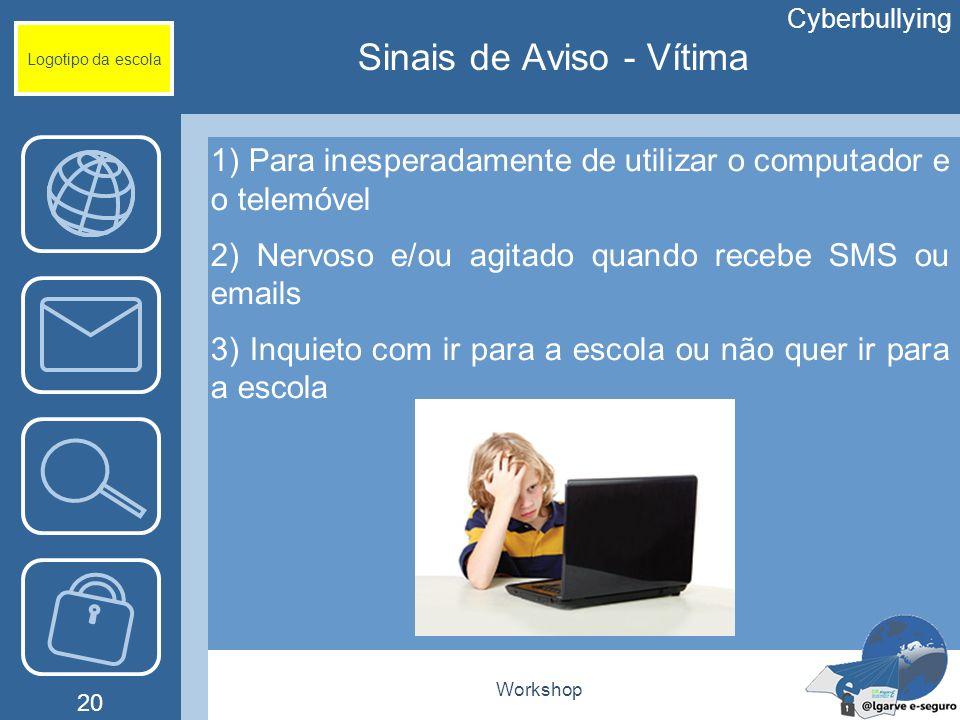 Workshop 20 Logotipo da escola 1) Para inesperadamente de utilizar o computador e o telemóvel 2) Nervoso e/ou agitado quando recebe SMS ou emails 3) I