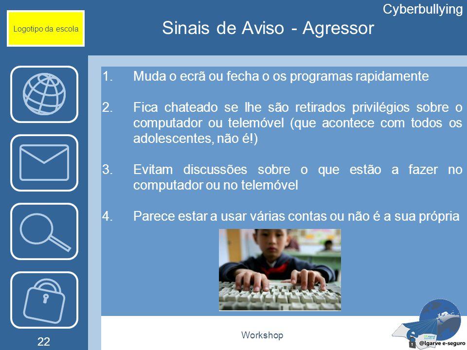 Workshop 22 Logotipo da escola 1.Muda o ecrã ou fecha o os programas rapidamente 2.Fica chateado se lhe são retirados privilégios sobre o computador o