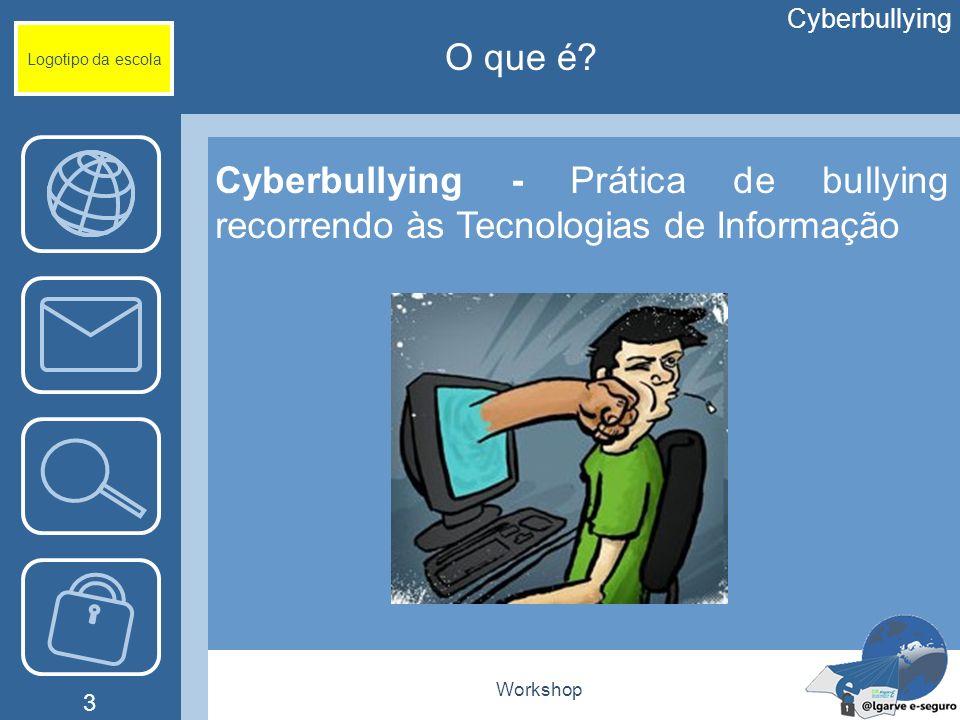 Workshop 3 Logotipo da escola Cyberbullying - Prática de bullying recorrendo às Tecnologias de Informação Cyberbullying O que é?
