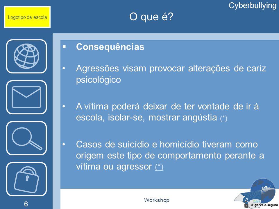 Workshop 6 Logotipo da escola Consequências Agressões visam provocar alterações de cariz psicológico A vítima poderá deixar de ter vontade de ir à esc