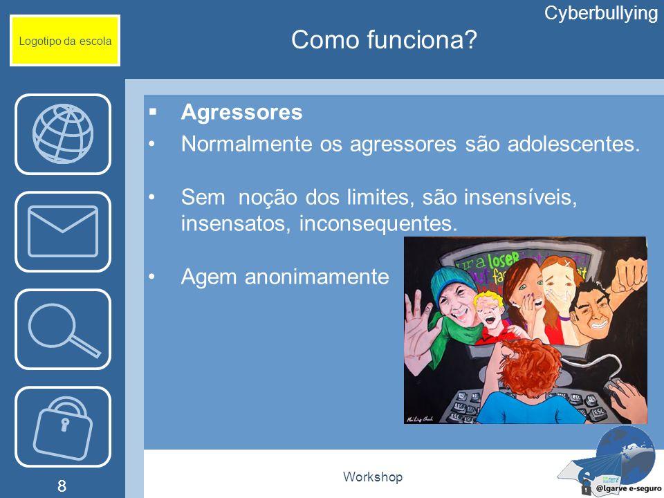 Workshop 8 Logotipo da escola Cyberbullying Como funciona? Agressores Normalmente os agressores são adolescentes. Sem noção dos limites, são insensíve