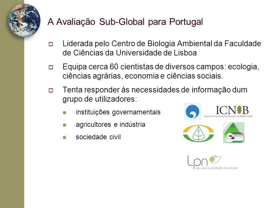 A Avaliação Sub-Global para Portugal Liderada pelo Centro de Biologia Ambiental da Faculdade de Ciências da Universidade de Lisboa Equipa cerca 60 cie