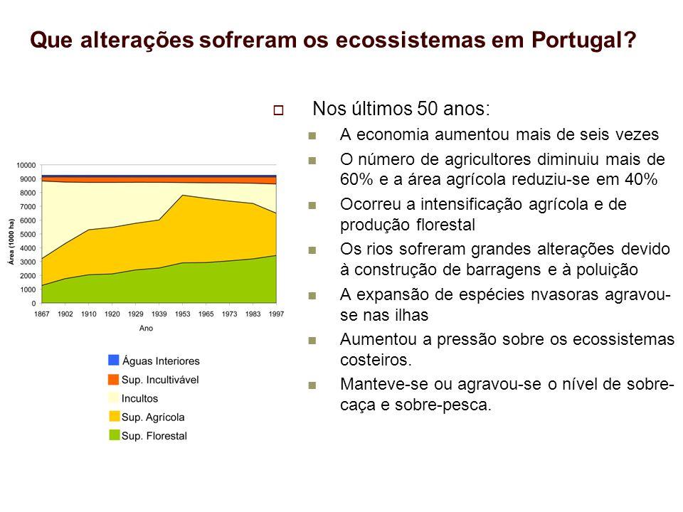 Que alterações sofreram os ecossistemas em Portugal? Nos últimos 50 anos: A economia aumentou mais de seis vezes O número de agricultores diminuiu mai