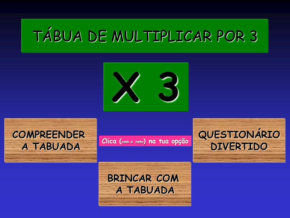 TÁBUA DE MULTIPLICAR POR 3 TÁBUA DE MULTIPLICAR POR 3 COMPREENDER A TABUADA A TABUADA X 3 X 3 Clica ( com o rato ) na tua opção BRINCAR COM BRINCAR COM A TABUADA A TABUADA QUESTIONÁRIO DIVERTIDO