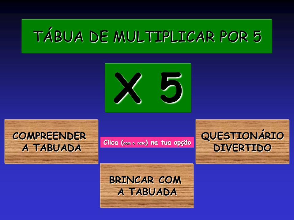 TÁBUA DE MULTIPLICAR POR 5 TÁBUA DE MULTIPLICAR POR 5 COMPREENDER A TABUADA A TABUADA X 5 X 5 Clica ( com o rato ) na tua opção BRINCAR COM BRINCAR COM A TABUADA A TABUADA QUESTIONÁRIO DIVERTIDO