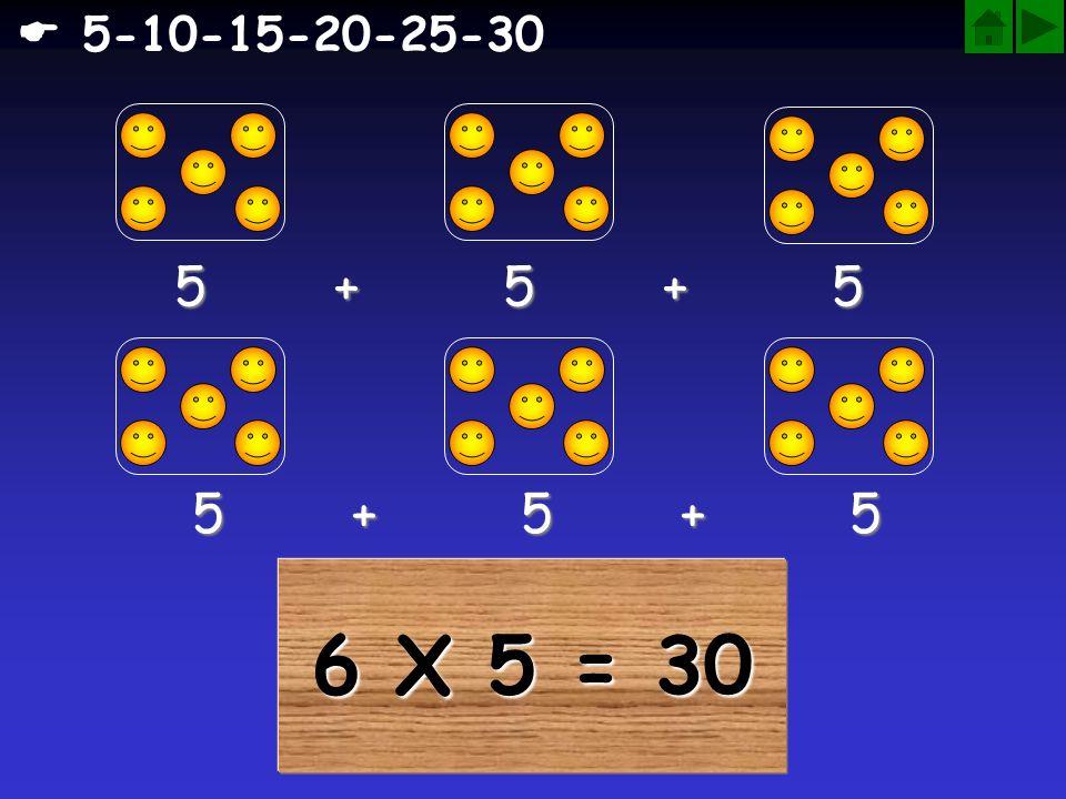 6 X 5 = 30 5 + 5 + 5 5 + 5 + 5 5-10-15-20-25-30