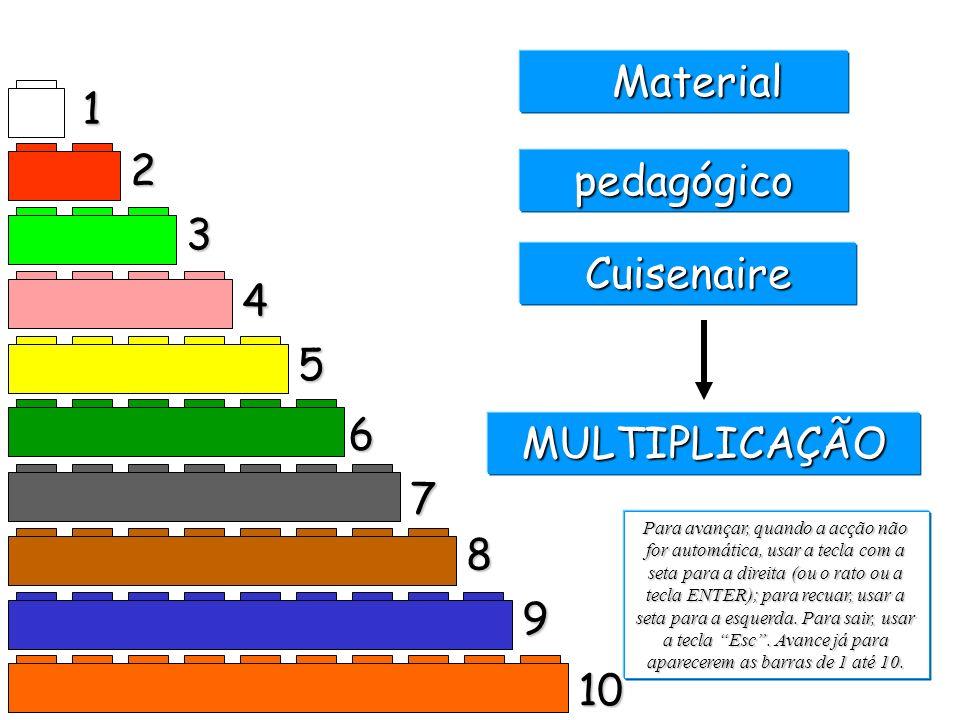 1 2 3 4 5 6 7 8 9 10 Material Material pedagógico Cuisenaire Para avançar, quando a acção não for automática, usar a tecla com a seta para a direita (