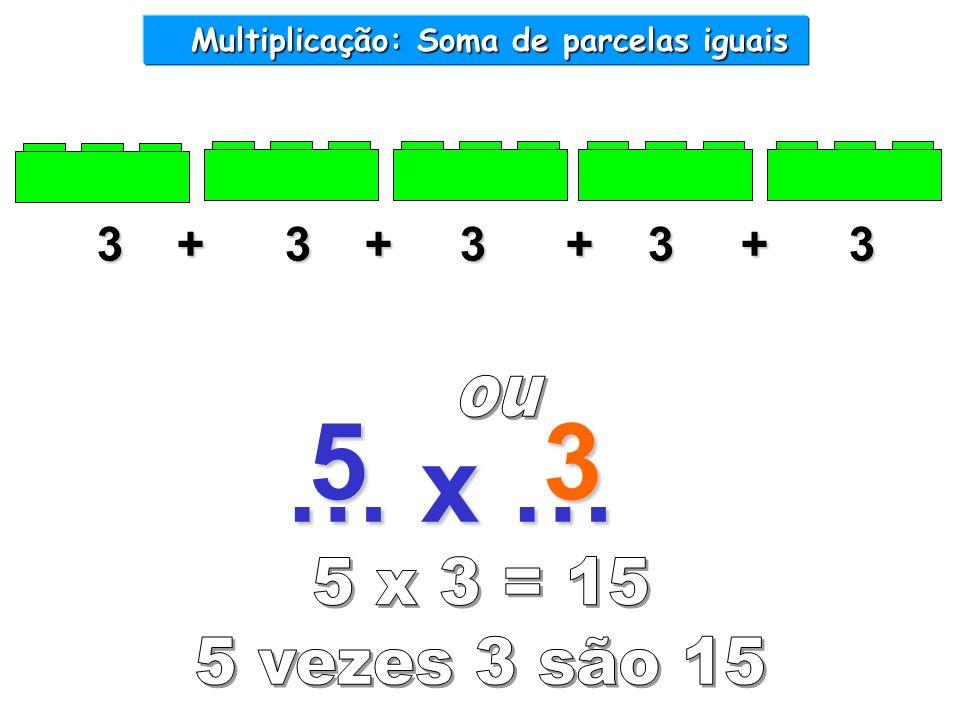 … x … 3 + 3 + 3 + 3 + 3 Multiplicação: Soma de parcelas iguais Multiplicação: Soma de parcelas iguais 53