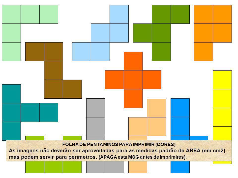 FOLHA DE PENTAMINÓS PARA IMPRIMIR (CORES) As imagens não deverão ser aproveitadas para as medidas padrão de ÁREA (em cm2) mas podem servir para períme