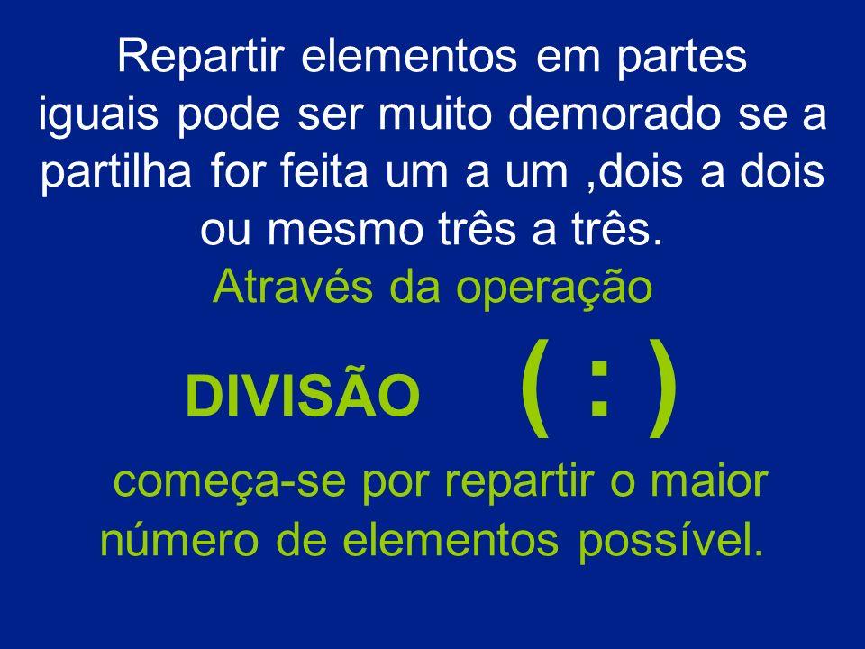 Repartir elementos em partes iguais pode ser muito demorado se a partilha for feita um a um,dois a dois ou mesmo três a três. Através da operação DIVI