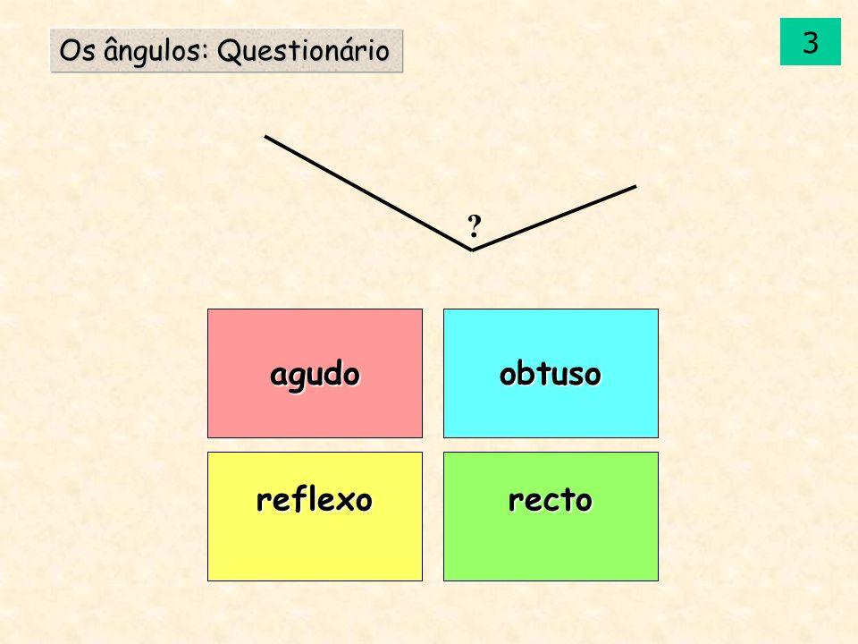 agudo reflexorecto obtuso Os ângulos: Questionário ? 3