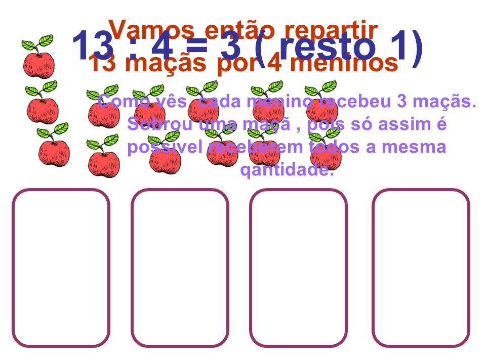 Vamos então repartir 13 maçãs por 4 meninos Como vês cada menino recebeu 3 maçãs. Sobrou uma maçã, pois só assim é possível receberem todos a mesma qa