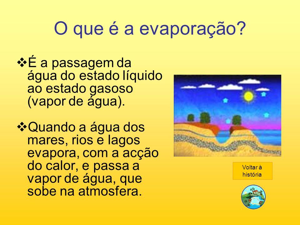 O que é a evaporação? É a passagem da água do estado líquido ao estado gasoso (vapor de água). Quando a água dos mares, rios e lagos evapora, com a ac