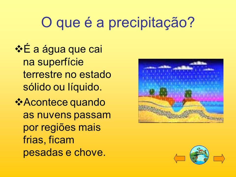 O que é a precipitação? É a água que cai na superfície terrestre no estado sólido ou líquido. Acontece quando as nuvens passam por regiões mais frias,