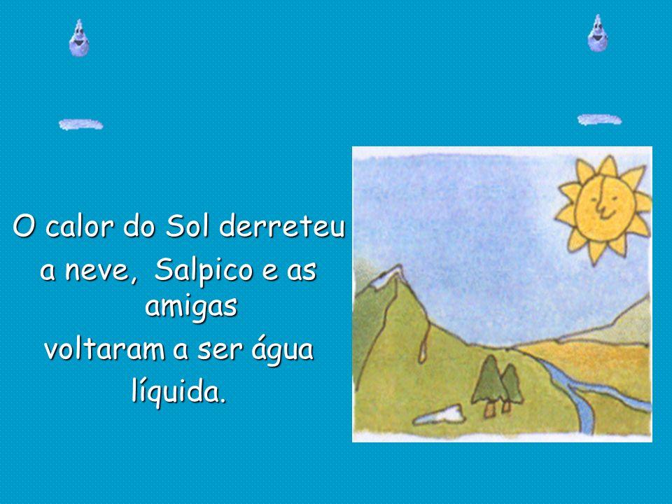 O calor do Sol derreteu a neve, Salpico e as amigas voltaram a ser água líquida.