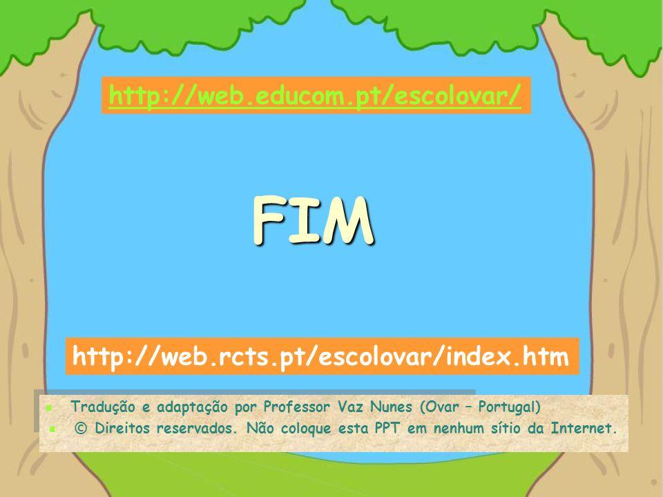 FIM Tradução e adaptação por Professor Vaz Nunes (Ovar – Portugal) © Direitos reservados. Não coloque esta PPT em nenhum sítio da Internet. http://web