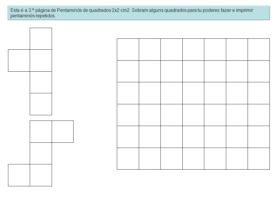 Esta é a 3.ª página de Pentaminós de quadrados 2x2 cm2. Sobram alguns quadrados para tu poderes fazer e imprimir pentaminós repetidos.