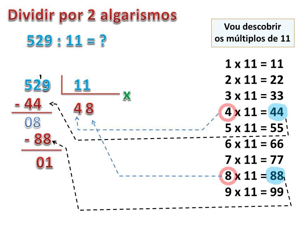 1 x 11 = 11 2 x 11 = 22 3 x 11 = 33 4 x 11 = 44 5 x 11 = 55 6 x 11 = 66 7 x 11 = 77 8 x 11 = 88 9 x 11 = 99, Vou descobrir os múltiplos de 11