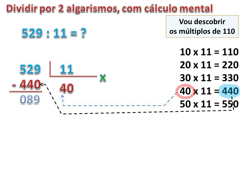 10 x 11 = 110 20 x 11 = 220 30 x 11 = 330 40 x 11 = 440 50 x 11 = 550 Vou descobrir os múltiplos de 110