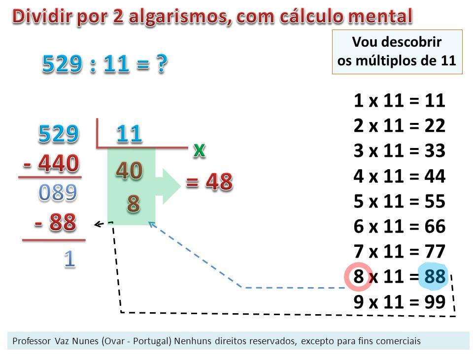 1 x 11 = 11 2 x 11 = 22 3 x 11 = 33 4 x 11 = 44 5 x 11 = 55 6 x 11 = 66 7 x 11 = 77 8 x 11 = 88 9 x 11 = 99 Vou descobrir os múltiplos de 11 Professor