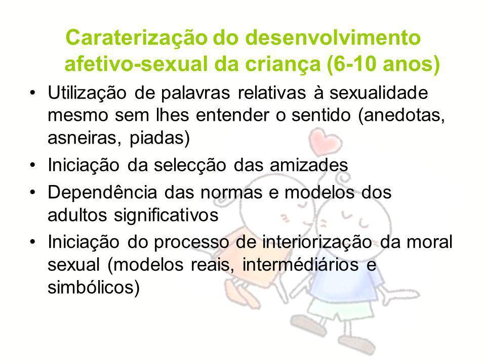 Caraterização do desenvolvimento afetivo-sexual da criança (6-10 anos) Utilização de palavras relativas à sexualidade mesmo sem lhes entender o sentid