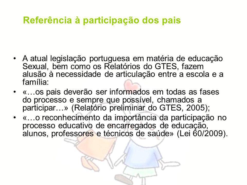 A atual legislação portuguesa em matéria de educação Sexual, bem como os Relatórios do GTES, fazem alusão à necessidade de articulação entre a escola