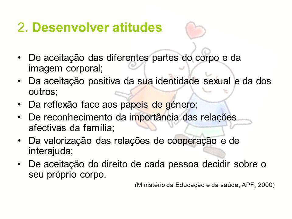 2. Desenvolver atitudes De aceitação das diferentes partes do corpo e da imagem corporal; Da aceitação positiva da sua identidade sexual e da dos outr