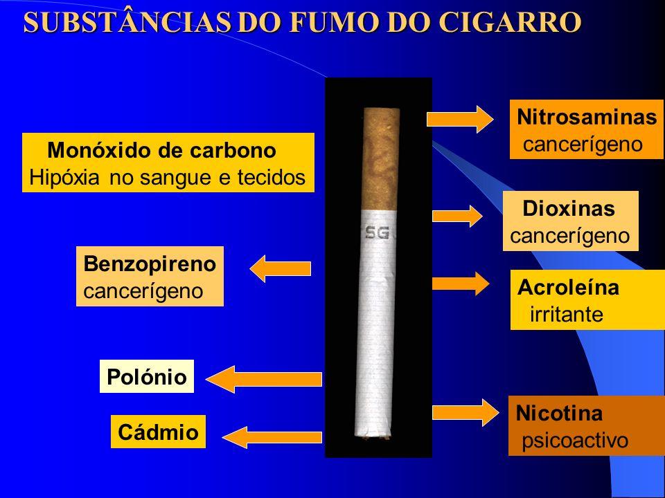 Nitrosaminas cancerígeno Dioxinas cancerígeno Acroleína irritante Nicotina psicoactivo Monóxido de carbono Hipóxia no sangue e tecidos Benzopireno can