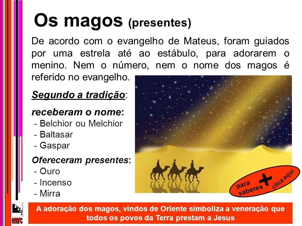 Segundo a tradição: receberam o nome: - Belchior ou Melchior - Baltasar - Gaspar A adoração dos magos, vindos de Oriente simboliza a veneração que tod