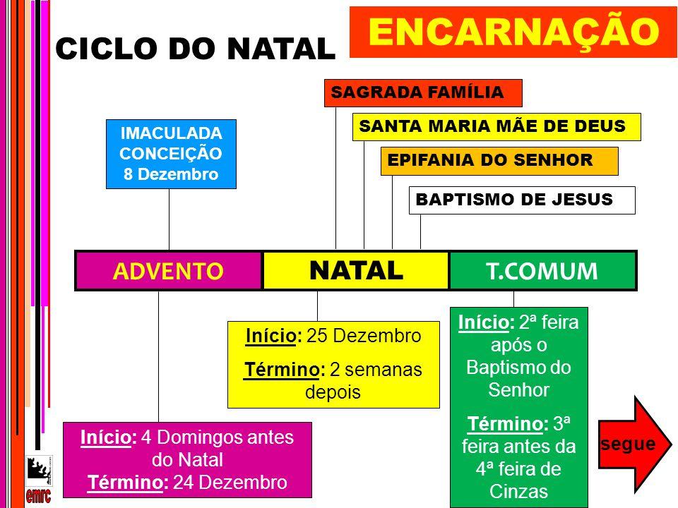 CICLO DO NATAL ADVENTO NATAL T.COMUM Início: 4 Domingos antes do Natal Término: 24 Dezembro Início: 25 Dezembro Término: 2 semanas depois IMACULADA CO
