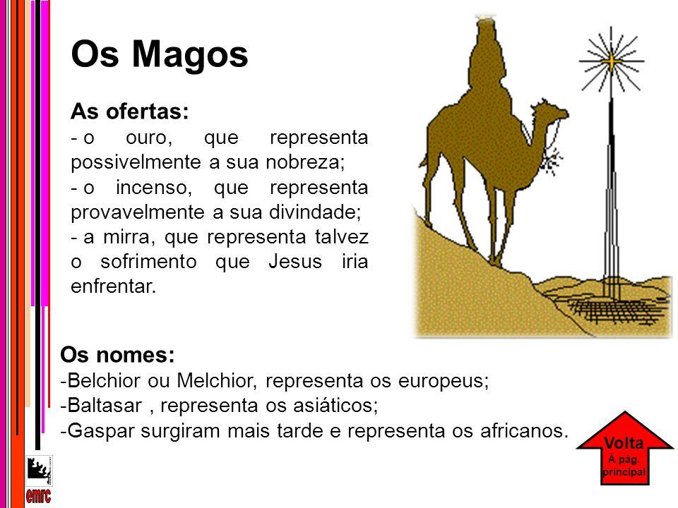 Os nomes: -Belchior ou Melchior, representa os europeus; -Baltasar, representa os asiáticos; -Gaspar surgiram mais tarde e representa os africanos. Os