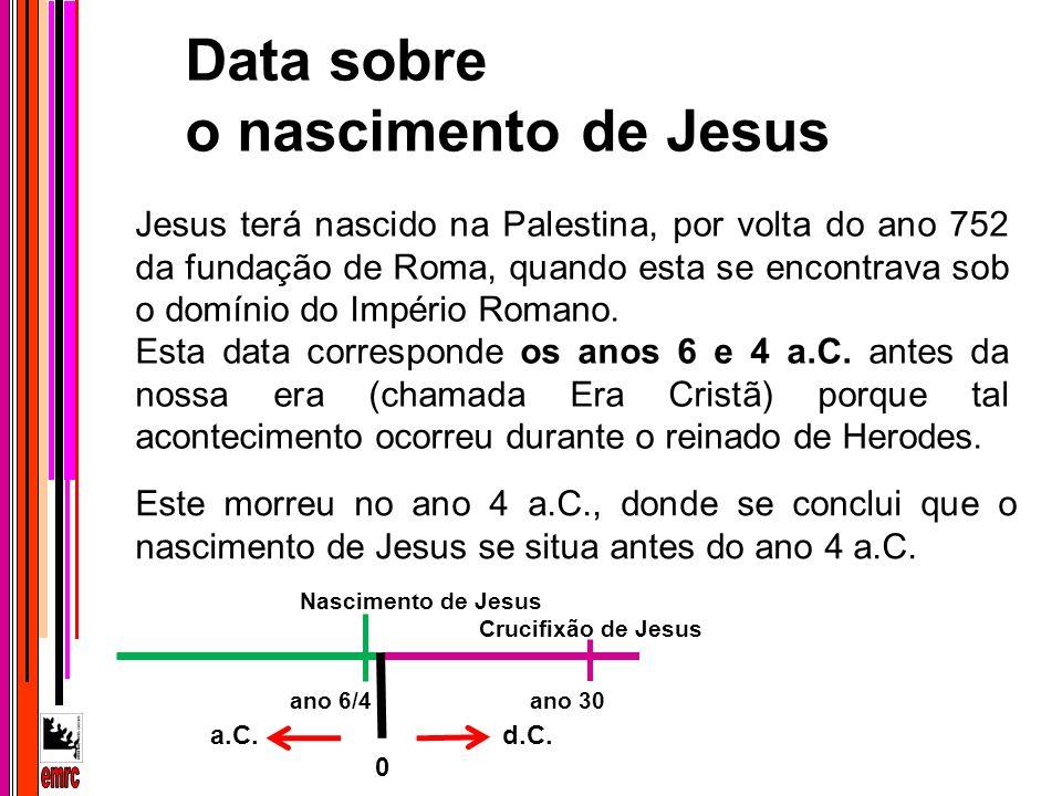 Jesus terá nascido na Palestina, por volta do ano 752 da fundação de Roma, quando esta se encontrava sob o domínio do Império Romano. Esta data corres