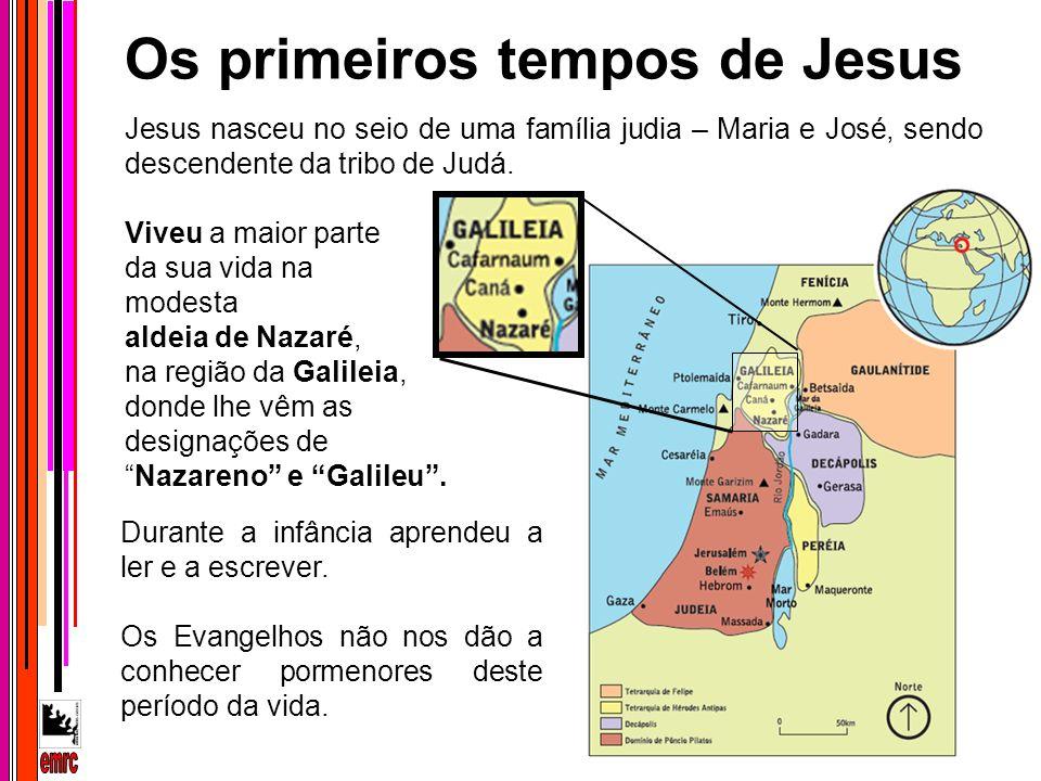Durante a infância aprendeu a ler e a escrever. Os Evangelhos não nos dão a conhecer pormenores deste período da vida. Jesus nasceu no seio de uma fam