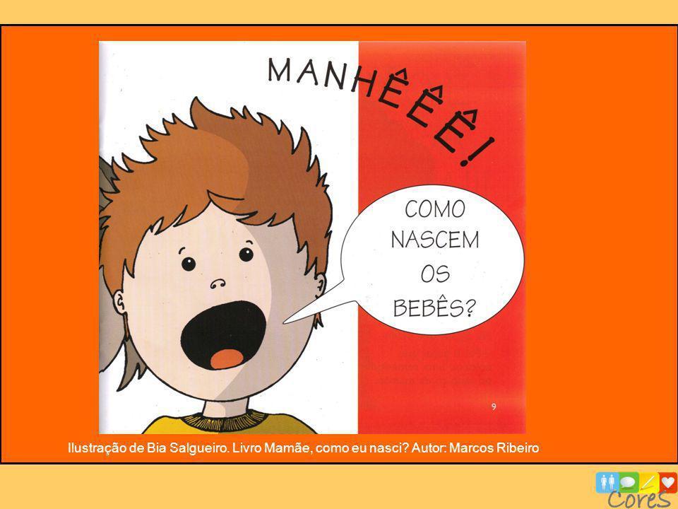 Ilustração de Bia Salgueiro. Livro Mamãe, como eu nasci? Autor: Marcos Ribeiro
