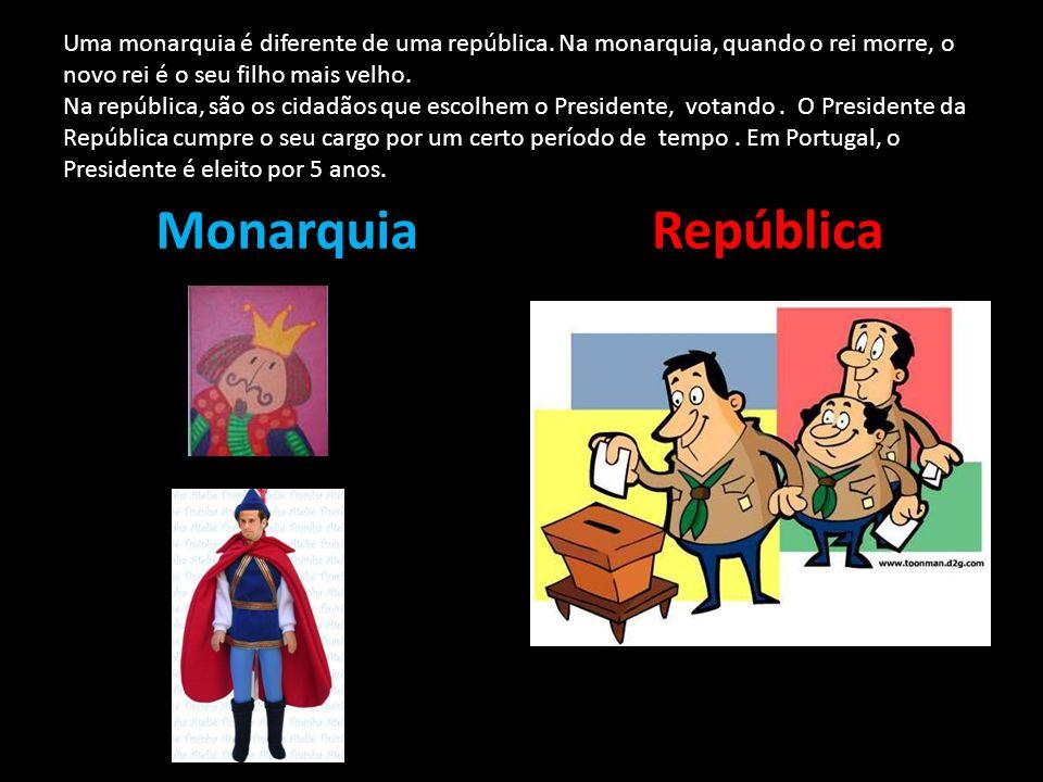 Uma monarquia é diferente de uma república. Na monarquia, quando o rei morre, o novo rei é o seu filho mais velho. Na república, são os cidadãos que e