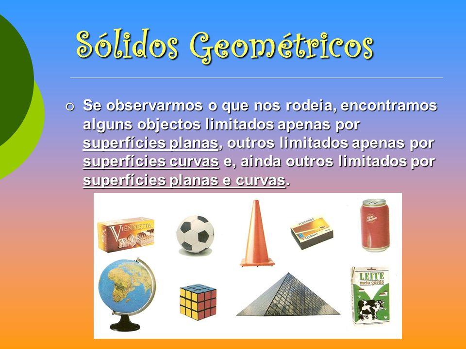 Os sólidos geométricos dividem-se em dois grandes grupos: Os sólidos geométricos dividem-se em dois grandes grupos: Poliedros e Não Poliedros.