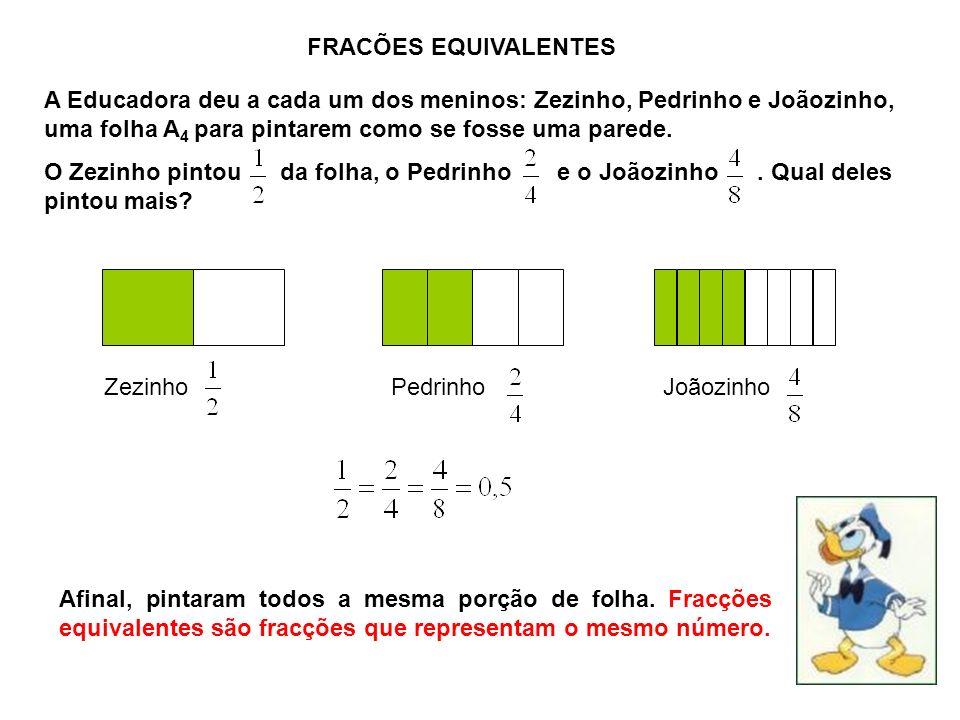 FRACÕES EQUIVALENTES A Educadora deu a cada um dos meninos: Zezinho, Pedrinho e Joãozinho, uma folha A 4 para pintarem como se fosse uma parede.