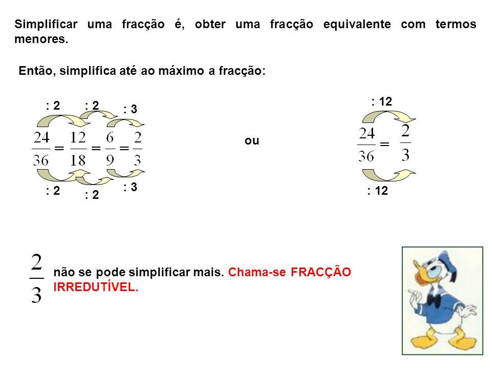Simplificar uma fracção é, obter uma fracção equivalente com termos menores. Então, simplifica até ao máximo a fracção: ou : 2 : 12 não se pode simpli